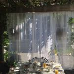 Private outside breakfast under the arbor