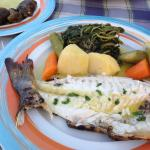 Fresh fish at greek restaurant at Blue Palace