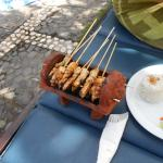 Satay sticks by the pool