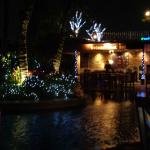 Night time at poolside restaurant