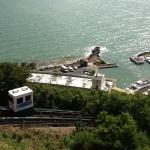 View of funicular and boat to the beach