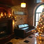 Coffee & gingerbread by the fire in the lobby
