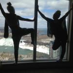 My sister and I with our beautiful view