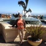 Dolphin fountain on the Plaza.  Beautiful Monterey Bay in the background.