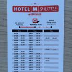 Time schedule of airport shuttle bus