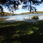 View of setup for outdoor wedding