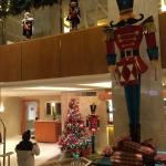 The decorative Christmastime lobby.