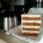 We are actually getting 6 servings out of this one amazing portion of carrot cake!