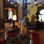 Lobby decorated for the Christmas season
