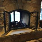 Fireplace in the lobby.