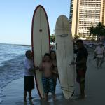 Squeezed between surf boards and true Hawaiians