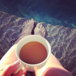 Coffee in the morning, toes in my swim up
