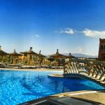 One of the many pools, with views of the Atlas mountains
