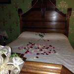 Rose petals on bed