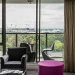 One bedroom Deluxe Suite easterly aspect, view of MCG and Rod Laver Arena