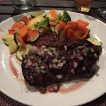 "Churrasco with veggies from their restaurant ""Las Palmas Café"". It was sooo good!"