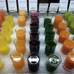 Juices selection at breakfast