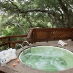 Private mineral springs hot tub are so relaxing!