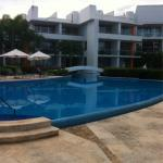 Beach-front pool. Good swim-out rooms but we preferred the rear swim-out pool rooms with slides