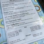 Breakfast menu at The Vineyard