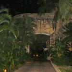 neoclassical walkway at night