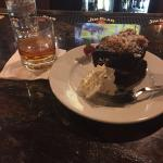 Chocolate cake and burbon.