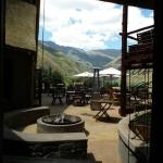 A view from the reception onto the hotel patio & outdoor dining area