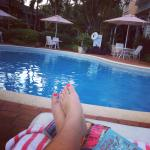 feet up by the pool