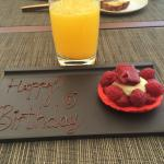 Birthday surprise from staff at breakfast