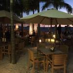 Bongo's beach bar and restaurant.  Seating on the beach.  Live music most nights.