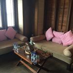 The small lounge area inside the Lagoon Suites
