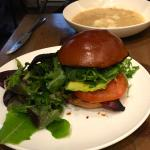 The white bean barley soup is hiding behind the BLT on brioche.