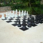 Giant chess set at the adult pool