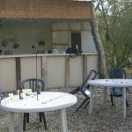 outdoor kitchen and dining tables for tipis