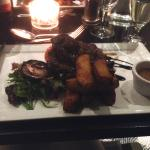 Meal in the restaurant - ribeye steak with chunky chips