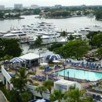 View of pool and marina from room