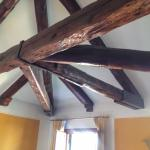 The very cool wood beamed ceilings