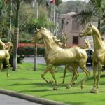Galloping horses at approach to Al Quasr hotel