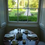 Breakfast with a view of the garden.