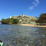 Hotel from across Hanalei Bay.