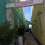 The entrance to the restaurant from the street