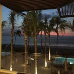 Ocean view from the lobby at night