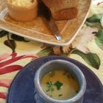 lovely bread and complimentary asparagus soup