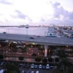 Cruise ships in dock, early morning view from Room 1020