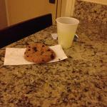 Warm cookie and drink on arrival