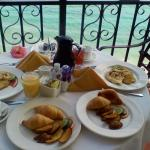 Anniversary breakfast served on our balcony