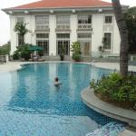 The swimming pool is well landscaped