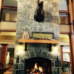 The fireplace is a wonderful spot in the hotel lobby