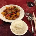 Sweet & sour pork and plain boil rice