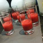 Concentrated strawberry juice shot for breakfast!! Bow! Yes..bow! ^^